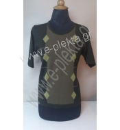 WOMEN'S KNITTED SPRING BLOUSE 3 COLOURED INTARSIA